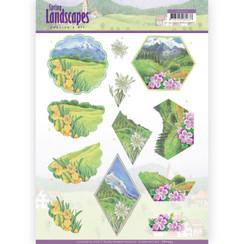 CD11293 - 10 stuks knipvellen - Jeanines Art- Spring Landscapes - Mountains