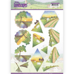CD11292 - 10 stuks knipvellen - Jeanines Art- Spring Landscapes - Sunset