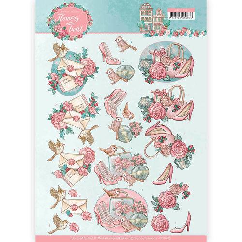 Yvonne Creations CD11288 - 10 stuks knipvellen - Yvonne Creations - Flowers with a Twist - Flowers with a Twist