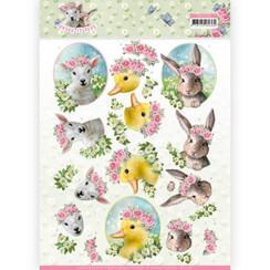 CD11276 - 10 stuks knipvellen - Amy Design - Spring is Here - Baby Animals