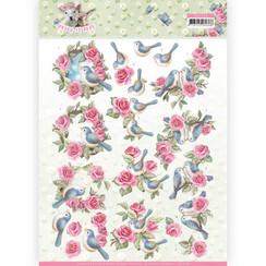 CD11278 - 10 stuks knipvellen - Amy Design - Spring is Here - Birds and Roses