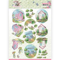 CD11279 - 10 stuks knipvellen - Amy Design - Spring is Here - Garden Sheds