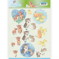 CD11274 - 10 stuks knipvellen - Jeanines Art- Young Animals - Kittens