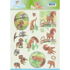 CD11273 - 10 stuks knipvellen - Jeanines Art- Young Animals - In the Forest