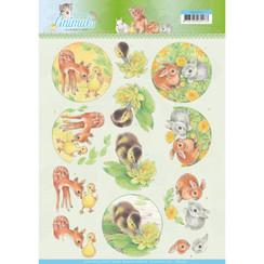 CD11272 - 10 stuks knipvellen - Jeanines Art- Young Animals - Ducklings and Rabbits