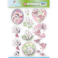 SB10338 - 3D Uitdrukvel - Jeanines Art- Young Animals - Cuties in Purple