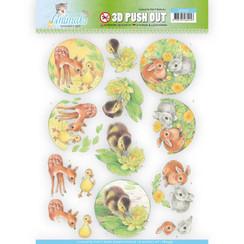 SB10335 - 3D Uitdrukvel - Jeanines Art- Young Animals - Ducklings and Rabbits
