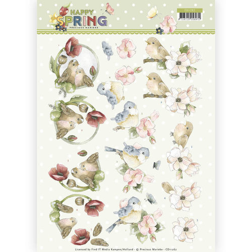 Precious Marieke CD11262 - 10 stuks knipvellen - Precious Marieke - Happy Spring - Happy Birds