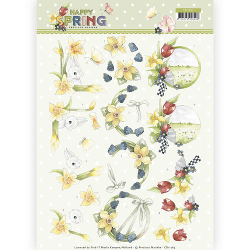 Precious Marieke CD11264 - 10 stuks knipvellen - Precious Marieke - Happy Spring - Happy Daffodils