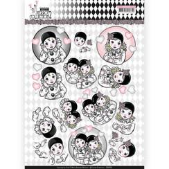 CD11256 - 10 stuks knipvellen - Yvonne Creations- Pretty Pierrot 2 - Thinking of You