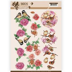 CD11221 - 10 stuks knipvellen - Jeanines Art- Birds and Flowers - Pink birds