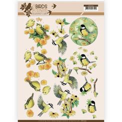 CD11220 - 10 stuks knipvellen - Jeanines Art- Birds and Flowers - Yellow birds