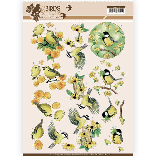 Jeanines Art CD11220 - 10 stuks knipvellen - Jeanines Art- Birds and Flowers - Yellow birds