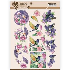 CD11219 - 10 stuks knipvellen - Jeanines Art- Birds and Flowers - Tropical birds