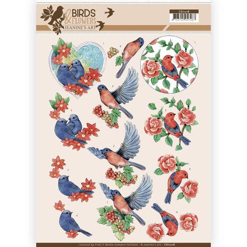 Jeanines Art CD11218 - 10 stuks knipvellen - Jeanines Art- Birds and Flowers - Blue Birds