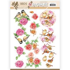 SB10320 - 3D Uitdrukvel - Jeanines Art- Birds and Flowers - Pink birds