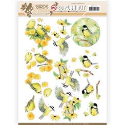 SB10319 - 3D Uitdrukvel - Jeanines Art- Birds and Flowers - Yellow birds