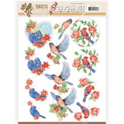 SB10317 - 3D Uitdrukvel - Jeanines Art- Birds and Flowers - Blue birds