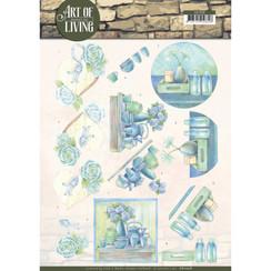 CD11208 - 10 stuks knipvellen - Jeanines Art- Art of Living - Blue Art