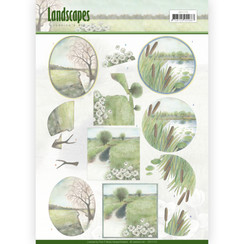 CD11173 - 10 stuks knipvellen - Jeanines Art- Landscapes - Winter Landscapes