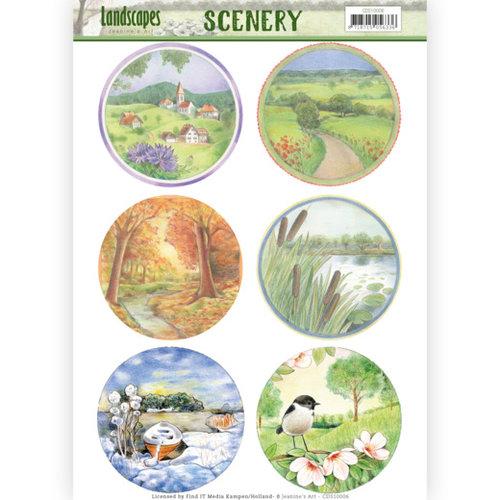 Jeanines Art CDS10006 - Die Cut Topper - Scenery - Jeanines Art- Landscapes - Landscape Circle