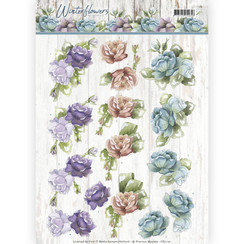 CD11191 - 10 stuks knipvellen - Precious Marieke - Winter Flowers - Roses