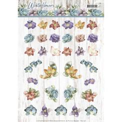 CD11198 - 10 stuks knipvellen - Precious Marieke - Winter Flowers - Mini