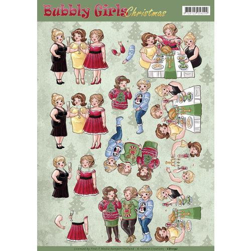 Yvonne Creations CD11192 - 10 stuks knipvellen - Yvonne Creations - Bubbly Girls Christmas - Cheers