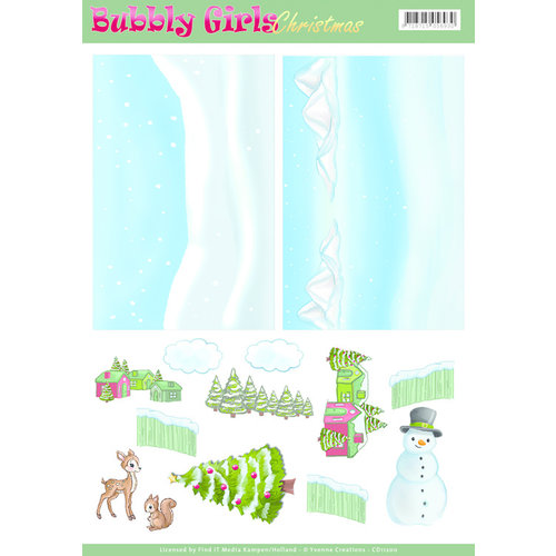 Yvonne Creations CD11200 - Achtergrondvellen - Yvonne Creations - Bubbly Girls Christmas - 2