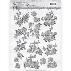 CD11179 - 10 stuks knipvellen - Amy Design - Words of Sympathy - Sympathy Roses