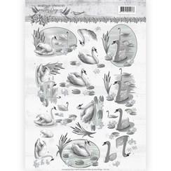 CD11181 - 10 stuks knipvellen - Amy Design - Words of Sympathy - Sympathy Swans