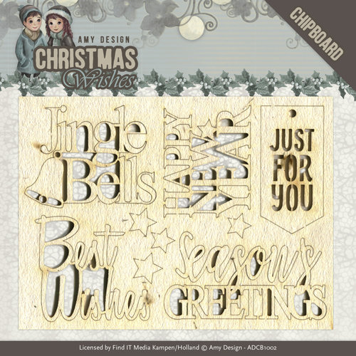 Amy Design ADCB1002 - Chipboard - Amy Design - Christmas Wishes - Text