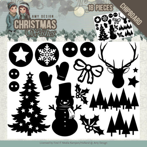 Amy Design ADCB1003 - Chipboard - Amy Design - Christmas Wishes - afbeelding