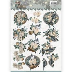 CD11151 - 10 stuks knipvellen - Amy Design - Christmas wishes - Birds and Bells