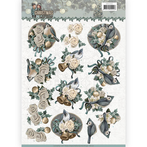 Amy Design CD11151 - 10 stuks knipvellen - Amy Design - Christmas wishes - Birds and Bells