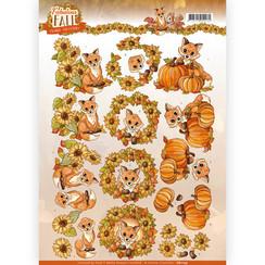 CD11155 - 10 stuks knipvellen - Yvonne Creations - Fabulous Fall - Fabulous Foxes