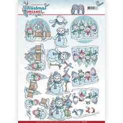 CD11136 - 10 stuks knipvellen - Yvonne Creations - Christmas Dreams - Snowman