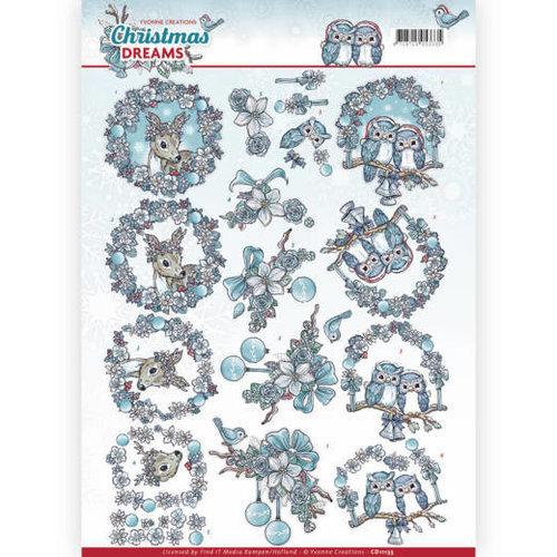 Yvonne Creations CD11135 - 10 stuks knipvellen - Yvonne Creations - Christmas Dreams - Christmas Animals