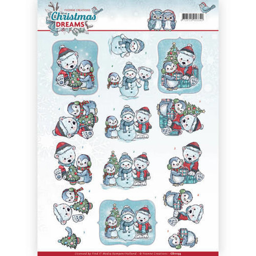 Yvonne Creations CD11133 - 10 stuks knipvellen - Yvonne Creations - Christmas Dreams - Christmas Bears