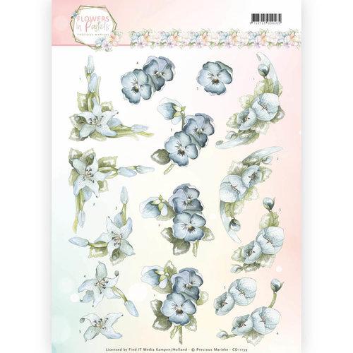 Precious Marieke CD11139 - 10 stuks knipvellen - Precious Marieke - Flowers in Pastels - True Blue