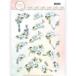 CD11141 - 10 stuks knipvellen - Precious Marieke - Flowers in Pastels - Blue Dreams