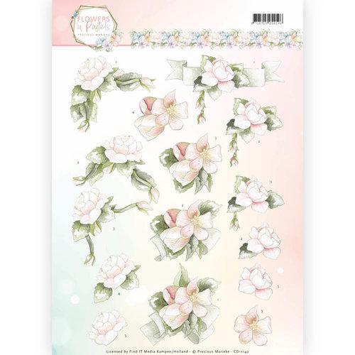 Precious Marieke CD11142 - 10 stuks knipvellen - Precious Marieke - Flowers in Pastels - Believe in Pink