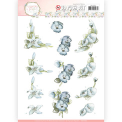 SB10282 - 3D Pushout  - Precious Marieke - Flowers in Pastels - True Blue