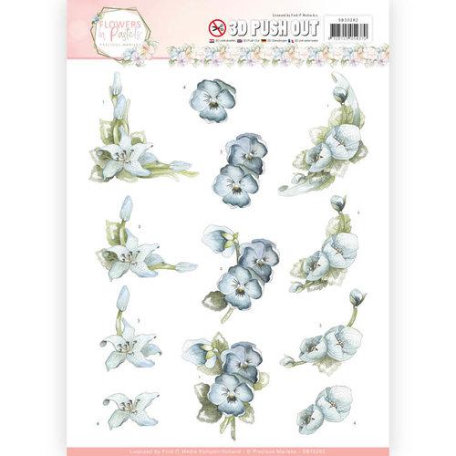 Precious Marieke SB10282 - 3D Pushout  - Precious Marieke - Flowers in Pastels - True Blue