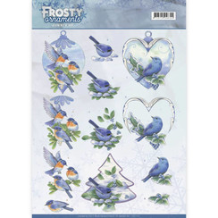 CD11131 - 10 stuks knipvellen - Jeanines Art- Frosty Ornaments - Blue Birds