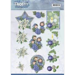 CD11130 - 10 stuks knipvellen - Jeanines Art- Frosty Ornaments - Blue Ornaments
