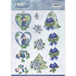 CD11129 - 10 stuks knipvellen - Jeanines Art- Frosty Ornaments - Green Ornaments