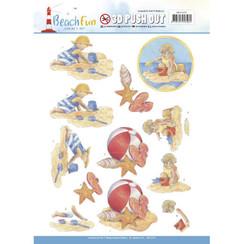 SB10270 - Uitdrukvel - Jeanines Art- Beach Fun - Playing in the sun