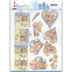 CD11070 - 10 stuks knipvellen - Jeanines Art- Beach Fun - Seashells