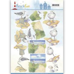 CD11068 - 10 stuks knipvellen - Jeanines Art- Beach Fun - Seagulls
